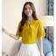 Preorder เสื้อทำงาน สีเหลืองขมิ้น คอผูกโบว์ แขนแต่งระบายสองชั้นสวยหรู thumbnail 5