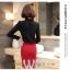 Preorder เสื้อทำงาน สีดำ คอตั้ง แขนแต่งระบายสวย จับจีบด้านหน้าสวยงาม thumbnail 9