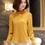 Preorder เสื้อทำงาน สีเหลืองขมิ้น คอตั้ง แขนแต่งระบายสวย จับจีบด้านหน้าสวยงาม thumbnail 4