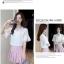 Preorder เสื้อทำงาน สีขาว คอผูกโบว์ แขนแต่งระบายสองชั้นสวยหรู thumbnail 5