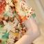 Preorder เสื้อทำงาน สีสันสดใส คอกลมแขนแต่งระบายเฉียง วีช่วงอกเก๋ๆ เนื้อผ้าพิม์ลายดอกไม้สวยหวาน thumbnail 8