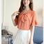 Preorder เสื้อทำงาน สีส้ม คอผูกโบว์ แขนแต่งระบายสองชั้นสวยหรู thumbnail 6