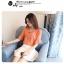 Preorder เสื้อทำงาน สีส้ม คอผูกโบว์ แขนแต่งระบายสองชั้นสวยหรู thumbnail 8