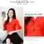 Preorder เสื้อทำงาน สีแดง คอผูกโบว์ แขนแต่งระบายสองชั้นสวยหรู thumbnail 3