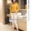 Preorder เสื้อทำงาน สีเหลืองขมิ้น คอตั้ง แขนแต่งระบายสวย จับจีบด้านหน้าสวยงาม thumbnail 8