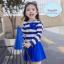 ชุดว่ายน้ำเด็กหญิง แขนยาวลายทางสีน้ำเงิน - ขาว พร้อมหมวก thumbnail 1
