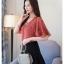 Preorder เสื้อทำงาน สีแดงลายดาว คอวี ดีเทลอกเสื้อแบบทับไขว้เก๋ไก๋สุดๆ แขนทรงปีกค้างคาว เนื้อผ้าระบายอากาศได้ดี thumbnail 5