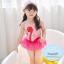 ชุดว่ายน้ำเด็กหญิง วันพีชสีชมพูลายหงส์ พร้อมหมวก thumbnail 1