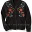 1964Old Navy Floral-Embroidered-Fleece-Bomber-Jacket- Black ขนาด 10-12 ปี (๋ส่งฟรี ลทบ.) thumbnail 1