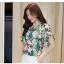 Preorder เสื้อทำงาน สีสันสดใส คอกลมแขนแต่งระบายเฉียง วีช่วงอกเก๋ๆ เนื้อผ้าพิม์ลายดอกไม้สวยหวาน thumbnail 3