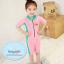 ชุดว่ายน้ำบอดี้สูทเด็กผู้หญิง ซิปหน้า สีชมพูเขียว thumbnail 3