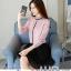 Pre-order เสื้อทำงาน สีชมพู คอระบายสวยหวาน แต่งมุกเรียงด้านหน้าไม่ซ้ำใคร thumbnail 1