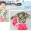 ชุดว่ายน้ำเด็กผู้หญิง แขนยาวลายดอกไม้ กางเกงกระโปรงสีชมพูอมส้ม พร้อมหมวกเข้าชุด thumbnail 1