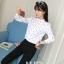 Preorder เสื้อทำงาน คอจีนแขนยาว ลาย Polka Dot สีขาวดำสุดคลาสสิค thumbnail 2