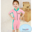 ชุดว่ายน้ำบอดี้สูทเด็กผู้หญิง ซิปหน้า สีชมพูเขียว thumbnail 1