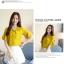 Preorder เสื้อทำงาน สีเหลืองขมิ้น คอผูกโบว์ แขนแต่งระบายสองชั้นสวยหรู thumbnail 6