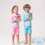 ชุดว่ายน้ำเด็กหญิงเสื้อแขนยาว กางเกงขาสั้น สีชมพู-ขาว ลาย Enjoy Summer thumbnail 2