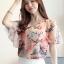 Preorder เสื้อทำงาน สีชมพู คอวี แขนระบาย ตัวเสื้อพิมพ์ลายดอกไม้สวยๆ thumbnail 1