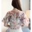 Preorder เสื้อทำงาน สีชมพู คอวี แขนระบาย ตัวเสื้อพิมพ์ลายดอกไม้สวยๆ thumbnail 5