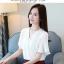 Preorder เสื้อทำงาน สีขาว คอวีแต่งมุกช่วงอก แขนระบาย thumbnail 6