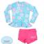 ชุดว่ายน้ำเด็กหญิงแขนยาวสีฟ้าอ่อน ลายดอกไม้ มีระบายบริเวณชายเสื้อ กางเกงสีชมพู thumbnail 2