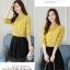 Pre-order เสื้อทำงาน โทนสีเหลือง พิมพ์ลายดอกไม้เล็กๆน่ารัก thumbnail 4