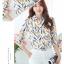 Pre-order เสื้อทำงาน คอปก สีขาว พิมพ์ลายดอกทิวลิปเหลือง งานสวยน่ารักมาก thumbnail 10