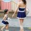 ชุดว่ายน้ำเด็กผู้หญิงสีน้ำเงินเข้ม ขาว พร้อมหมวก (มีคู่ แม่-ลูก ด้วยค่ะ จะซื้อเดี่ยว หรือซื้อคู่ ก็ได้ค่ะ) thumbnail 4