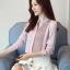 Pre-order เสื้อทำงาน สีเทาอมชมพู คอจีน จับจีบด้านหน้าสวยเก๋ thumbnail 5
