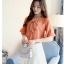 Preorder เสื้อทำงาน สีส้ม คอผูกโบว์ แขนแต่งระบายสองชั้นสวยหรู thumbnail 10