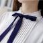 Preorder เสื้อทำงาน สีขาว ผูกโบว์แต่งระบายรอบคอตั้งน่ารัก แต่งแถบด้านหน้าอกเสื้อแบบเก๋ไก๋ เนื้อผ้าระบายอากาศได้ดี thumbnail 5