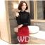 Preorder เสื้อทำงาน สีดำ คอตั้ง แขนแต่งระบายสวย จับจีบด้านหน้าสวยงาม thumbnail 2