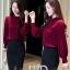 Pre-order เสื้อทำงาน สีไวน์แดง แต่งแถบหน้าเก๋ไก๋ จีบรอบแขนสวยงาม thumbnail 5