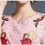 Preorder ชุดทำงาน สีชมพู คอกลมแขนห้าส่วน คาดเอวเก๋ไก๋ เนื้อผ้าลูกไม้ปักลายดอกไม้สวยหวาน thumbnail 6