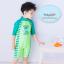 ชุดว่ายน้ำเด็กผู้ชาย บอดี้สูท ลายไดโนเสาร์ สีเขียว แขนยาว พร้อมหมวก thumbnail 2