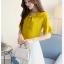 Preorder เสื้อทำงาน สีเหลืองขมิ้น คอผูกโบว์ แขนแต่งระบายสองชั้นสวยหรู thumbnail 7