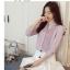 Pre-order เสื้อทำงาน สีเทาอมชมพู คอจีน จับจีบด้านหน้าสวยเก๋ thumbnail 1