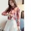 Pre-order เสื้อทำงาน สีขาวโทนแดง แต่งระบายไร่ระดับช่วงอกสวยหรูสุดๆ thumbnail 2