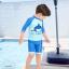 ชุดว่ายน้ำเด็กชาย ลาย My Treasure เสื้อแขน 3 ส่วน กางเกงขาสั้นสีฟ้า-น้ำเงิน (เอวกางเกงมีเชือกผูก ปรับได้) พร้อมหมวก thumbnail 1