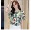 Preorder เสื้อทำงาน สีสันสดใส คอกลมแขนแต่งระบายเฉียง วีช่วงอกเก๋ๆ เนื้อผ้าพิม์ลายดอกไม้สวยหวาน thumbnail 4