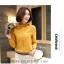Preorder เสื้อทำงาน สีเหลืองขมิ้น คอตั้ง แขนแต่งระบายสวย จับจีบด้านหน้าสวยงาม thumbnail 5