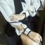 Pre-order เสื้อทำงาน สีขาว ลายกราฟฟิคเดินเส้นสีดำเรียหรู thumbnail 12