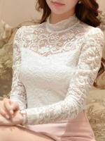 เสื้อลูกไม้สวยๆ แฟชั่นเกาหลี สีขาว เสื้อลายลูกไม้ใส่ออกงานหรูๆ เลิศๆ