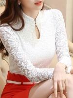เสื้อลูกไม้สวยๆ แฟชั่นเกาหลี สีขาว คอจีน แขนยาว เสื้อลายลูกไม้ใส่ออกงาน