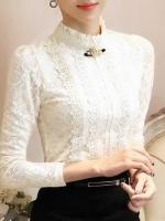 เสื้อลูกไม้สวยๆ ฝรั่งเศส สีขาว แขนยาว เสื้อลายลูกไม้ใส่ออกงาน แมทซ์กับผ้าถุง ผ้าซิ่นได้