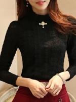 เสื้อลูกไม้สวยๆ ฝรั่งเศส สีดำ แขนยาว เสื้อลายลูกไม้ใส่ออกงาน แมทซ์กับผ้าถุง ผ้าซิ่นได้