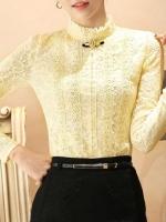 เสื้อลูกไม้สวยๆ ฝรั่งเศส สีครีมเหลือง แขนยาว เสื้อลายลูกไม้ใส่ออกงาน แมทซ์กับผ้าถุง ผ้าซิ่นได้