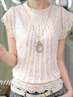 เสื้อลูกไม้สวยๆ แฟชั่นเกาหลี สีขาว เสื้อลายลูกไม้แขนสั้น ใส่กับยีนส์หรือผ้าถุงได้