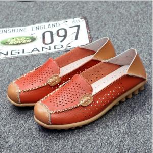 SK06 รองเท้าหนังวัวลายฉลุสีส้ม