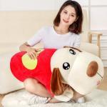 ตุ๊กตาสุนัขหมอนข้าง สีครีม ใส่เสื้อแดงลายหัวใจ ขนา่ด 1.2 m.